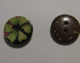 set of 2 wooden buttons 15 mm diameter stitching or scrapbooking