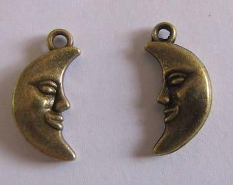 2 charms bronze bronze moon 18mmx8mm