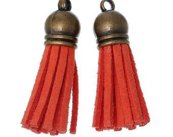 3.9 1 orange suede tassels 13 cm with brass cap