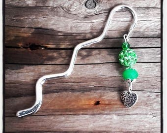Bookmark silver charm beads green Crystal and heart