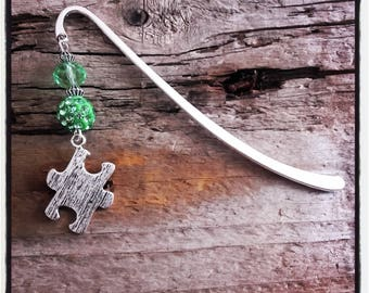 Green puzzle silver charm bookmark