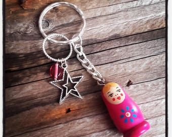 Pink Russian doll theme keychain
