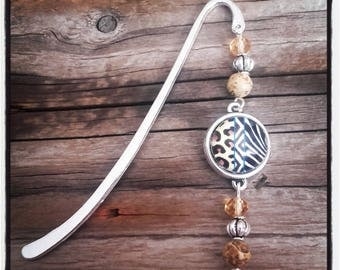 Silver charm bookmark cabochon and beads Leopard / Zebra