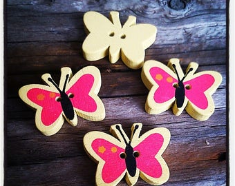 set of 4 fancy wood 23x17mm Butterfly yellow and fuchsia buttons