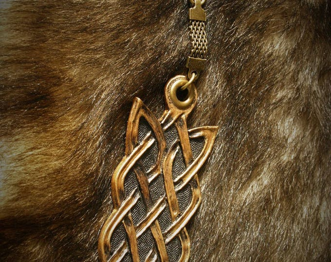 Jewelry bag Keychain long Celtic embossed leather