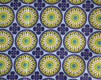 """Blue pvc coated fabric and yellow """"Ethnic"""" pattern"""