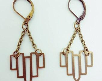 Bronze geometric vintage earrings