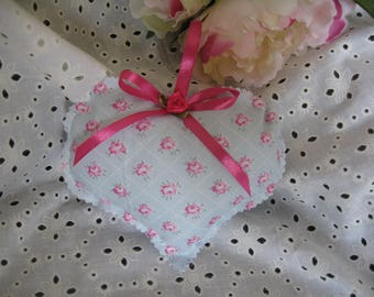 Free shipping! Decorative heart shabby blue and pink
