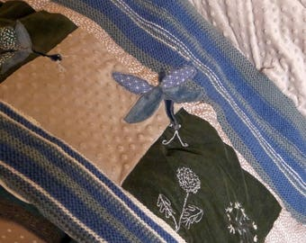 Baby blanket, throw, embroidered, dragonflies and dandelions