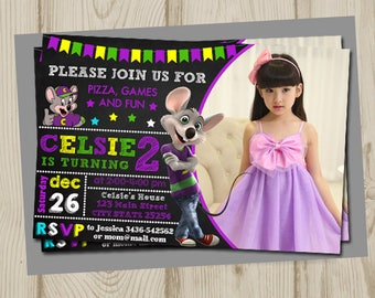 Chuck e cheese invitation, chuck e cheese birthday, chuck e cheese birthday invitation, chuck e cheese party, chuck e cheese, printable