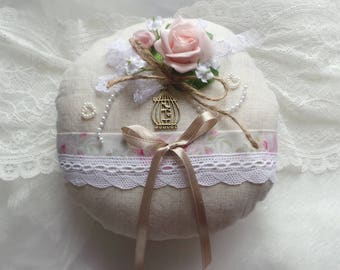 Romantic shabby old vintage wedding ring bearer pillow