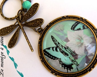 "KEYCHAIN cabochon ""Butterfly""metal bronze"