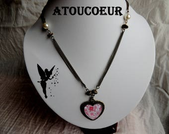 """My heart"" metal necklace/pendant/cabochon bronze."