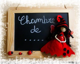 Slate/sign / door plaque for a child with Ladybug fairy room