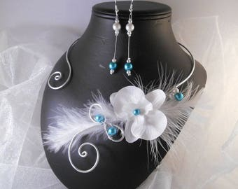 Set 2 wedding pieces ZOLA necklace & Earrings in turquoise & white