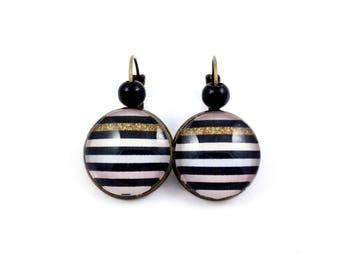 Stud Earrings - cabochon - stripes