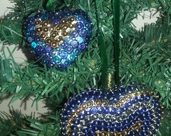 Sequins - Blue Christmas hearts, gold and silver