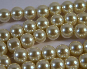 "glass beads 20 ""cultured pearl"" ivory 10 mm C22"