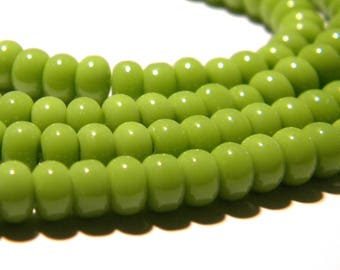 30 pearls 6 x 4 - glass abacus - pumpkin way jade - green pistachio F119 4
