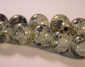 10 2 tones-12 mm - Crackle glass beads gray PE225