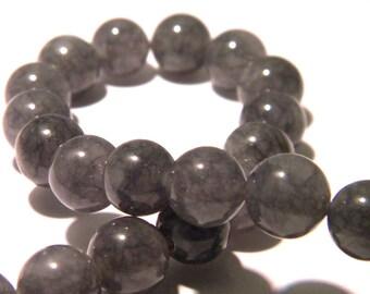6 jade beads 10 mm - round bead - gem stone - grey - F160 - translucent