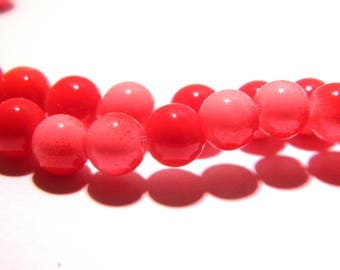100 glass beads 4 mm - 2 colors - red and pink-glass - G57-5