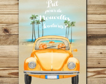 """greeting card double paper FSC illustration """"Travel bug"""" made in France"""