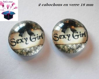 2 theme message 18mm domed glass cabochon