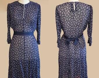 1930's micro-pleated silk chiffon dress