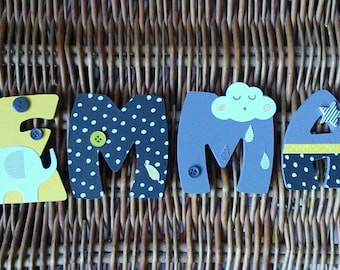 Kids name letter wooden 8cm - theme babyfan