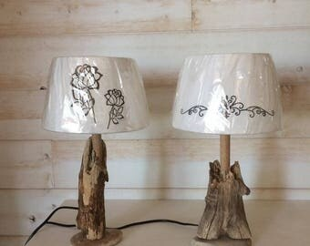 Pair lamps with Driftwood & roller foot