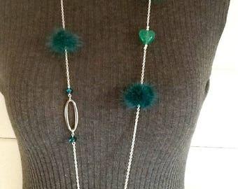 Long green tassel necklace
