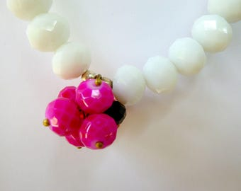 Long necklace faceted glass beads and fabric: pink, orange and white