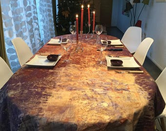 Tablecloth fabric plum and gold 8-10 covered hand painted