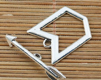 Antique X 4 toggle clasps 24 x 18 mm Tibetan silver new
