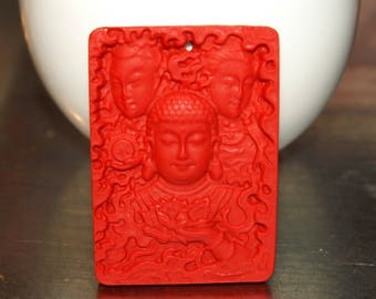 Natural plate depicting red cinnabar Buddha pendant