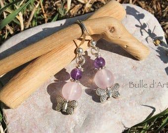 Earrings stones Amethyst & rose Quartz