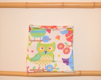 Snack, lunch bag child owls design and colorful owls