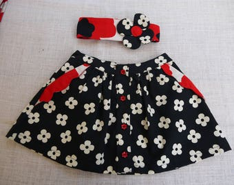 Skirt in black and white flowers with matching headband