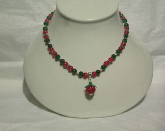 Green and red glass beads, Lampwork spun pendant necklace