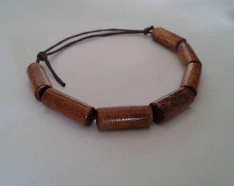 Long wooden sliding knot pearls bracelet