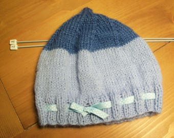 Pixie 3-6 month baby Hat knitted with two blue