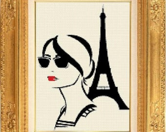 Paris tour Eiffel face counted cross stitch