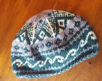 Hand knit hat, beret, fair isle pattern