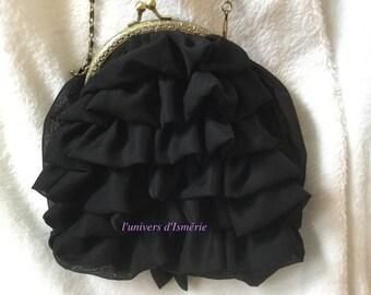 Black chiffon handbag
