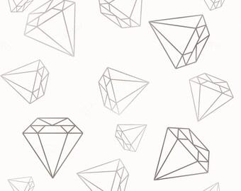Grey diamond print fabric on white background