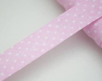 18 mm, folded, light pink white polka dot bias