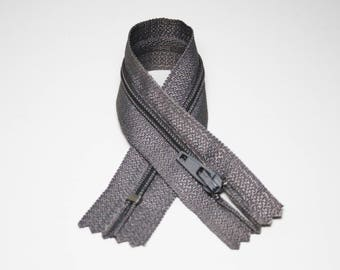 Zip closure, 18 cm, grey, not separable