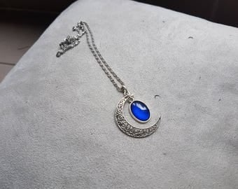 dark blue oval Moonstone necklace
