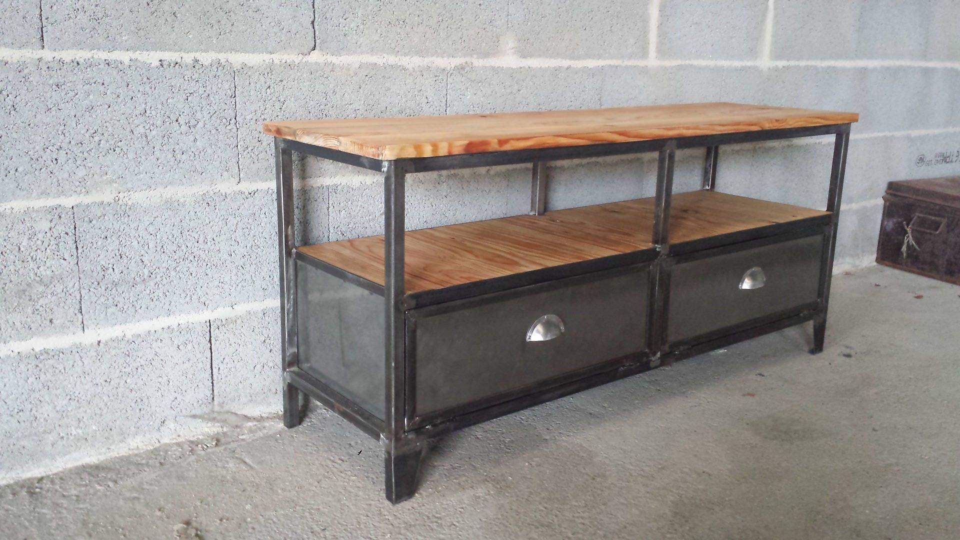 meuble industriel tv acier et bois vintage 2 clapets acier. Black Bedroom Furniture Sets. Home Design Ideas